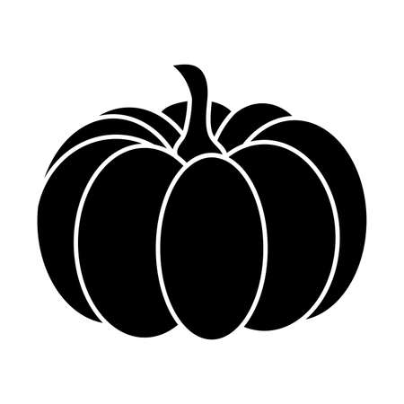 Pumpkin silhouette isolated on white. Autumnal symbolic cartoon illustration for halloween. Thanksgiving seasonal shape for party invitation. Autumn vector image, graphic element for print or poster