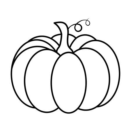 Pumpkin outline. Autumnal cartoon illustration. Shape for halloween or thanksgiving party invitation. Autumn vector image. Seasonal clipart graphic contour. Symbol of october celebrate festival.