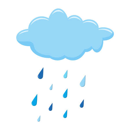 Cloud and rain isolated on white illustration. Autumnal cartoon of falling droplet. Raindrops and cumulus on white background. Clipart of forecast graphic elements. Blue water drops in rainy autumn