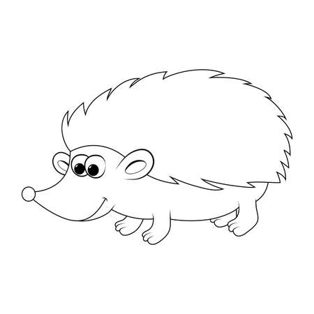 Hedgehog outline isolated on white. Contour autumnal shape for kids. Vector smiling animal for autumn design.  Cartoon happy pet illustration. Funny mammal mascot with sharp spikes. 矢量图像