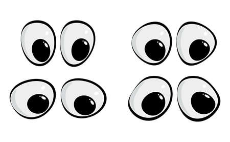 Cartoon  collection isolated on white. Happy eyesight for caricature people.  vector set. Clipart illustration element for comic animals or human face.  Image of eyeball facial expression.