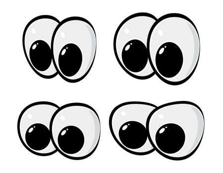 Eyes vector set isolated on white. Clipart illustration element for comic animals or human face.  Image of eyeball facial expression. Happy eyesight for caricature people. Simple eps10 collection. Ilustração