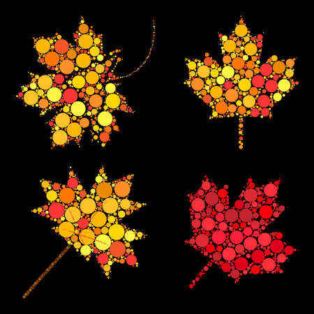 Autumn leaves. Abstract design elements collection. Vector set of autumnal maple leaf in fall colors. Seasonal foliage symbols set made of dots. Illustration on black isolated background. Çizim