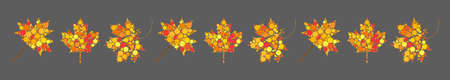 Autumn leaves divider. Abstract border with autumnal maple leaf. Line with fall colors decoration. Seasonal foliage symbols made of dots. Illustration for invitation or ornate frame .