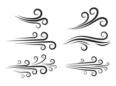 Wind blow icon set. Windy weather swirl vector shape. Silhouette of speed blowing air isolated on white. Breeze wave abstract curve symbols collection. Decorate forecast meteorology icons.
