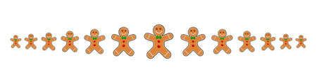 Christmas divider with gingerbread man. Xmas border line, cartoon headline with smiling cookies. Page footer with christmas ornament. Eps 10 design isolated on white background.