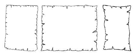 Parchment outline vector collection, Set of old paper sheets contour isolated on white background. Illustration of empty ripped grunge page shapes. Damaged papyrus texture. Eps 10 Çizim