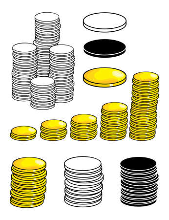 Money set. Gold coin symbol isolated on white background. Collection of cartoon business vector icon. Single, pile and stack graphic design. Color, silhouette and outline illustration.
