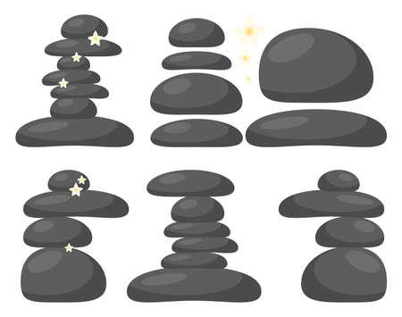 Spa stones set isolated on white background. Massage pebble collection for wellness therapy. Cartoon element of stack hot stone. Oriental relaxation rocks. Balance and harmony illustration.
