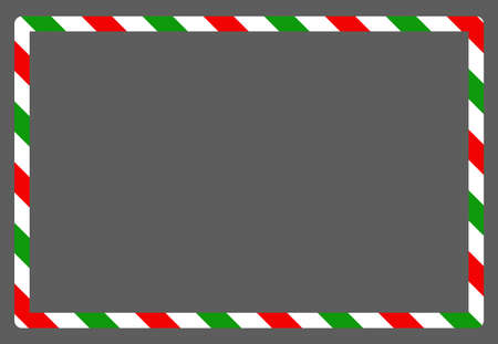 Candy cane christmas frame with blank space. Xmas striped border with copyspace. Rectangle background for banner or christmas card. Vector, holiday empty simple illustration.