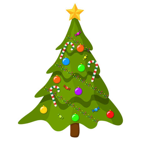 Christmas tree with ornaments. Cartoon illustration isolated on white background. Vector fir tree with hanging xmas decorations.Modern holiday evergreen design with balls,lights and candy canes.