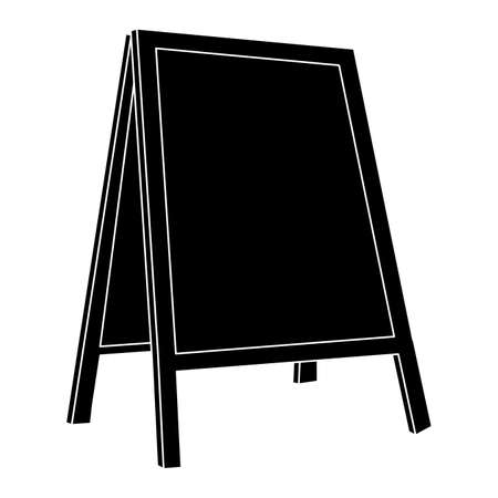 Street chalk board silhouette isolated on white background. Empty cafes blackboard billboard illustration. Blank outside advertisement information stand. Black Sidewalk announcement board.