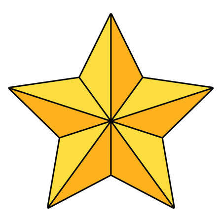 Christmas star icon isolated on white background. Gold holiday light. Vector ornament. Illustration of golden christian symbol. Xmas clipart for your design.