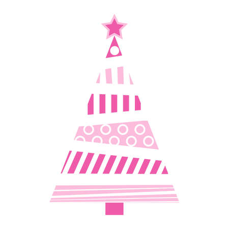 Abstract christmas tree illustration. Pink pastel fir tree for xmas made from circles and bars. Vector icon isolated on white background. Simple holiday symbol with geometrical shapes.