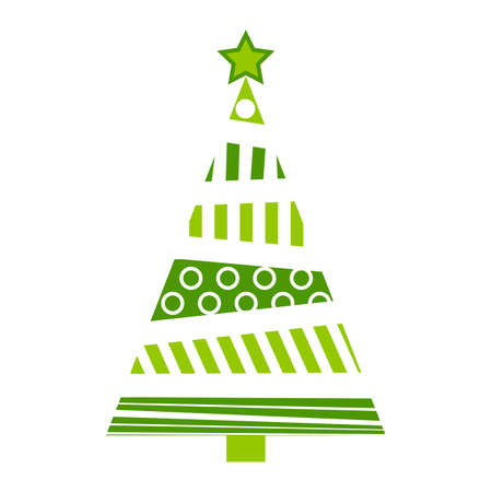 Christmas tree abstract illustration. Green fir tree for xmas made from bars and circles. Simple holiday symbol with geometrical shapes. Vector icon isolated on white background.