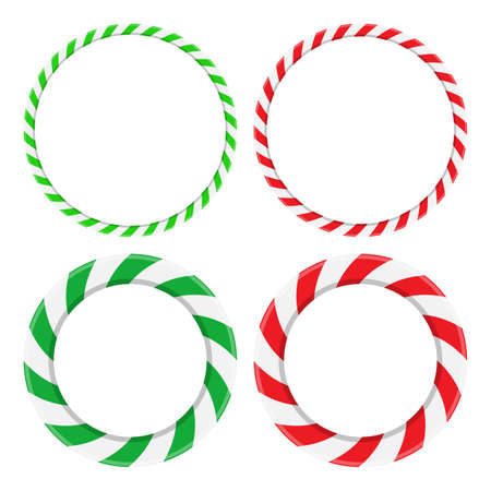 Candy cane circle frame set. Christmas round border with stripes collection. Striped vector xmas ring background with copy space. Red, green and white color design element.