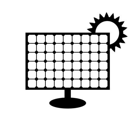 Solar panel icon isolated on white background. Vector symbol of alternative energy source. Black pictogram with renewable power resource with sun. Eco electricity concept. Silhouette simple sign. 向量圖像
