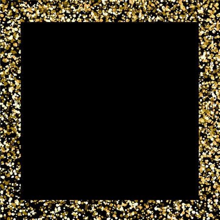 Glitter frame. Gold square border on black background. Christmas backdrop with copy space. Golden magic confetti wallpaper. Abstract glamour decoration element with glittering grain or dust.