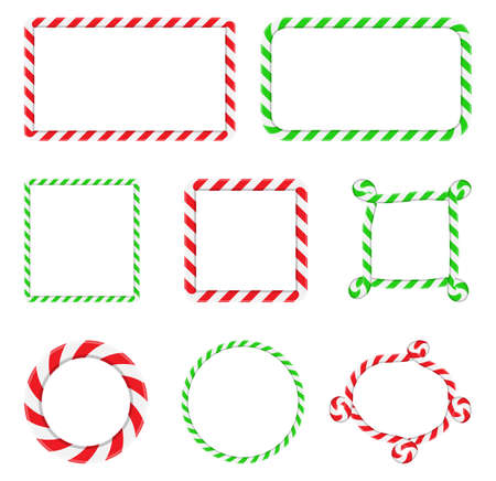 Candy cane frame collection. Christmas border with stripes set. Striped vector xmas circle ,square and rectangle shape background with copy space. Red, green and white color design element. 版權商用圖片 - 160557897