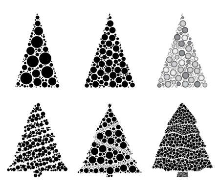Abstract christmas tree silhouettes made from many dots collection. Set of fir tree made with black circles. Good for retro or vintage xmas card, banner or invitation. Vector illustration on white. 版權商用圖片 - 160752695