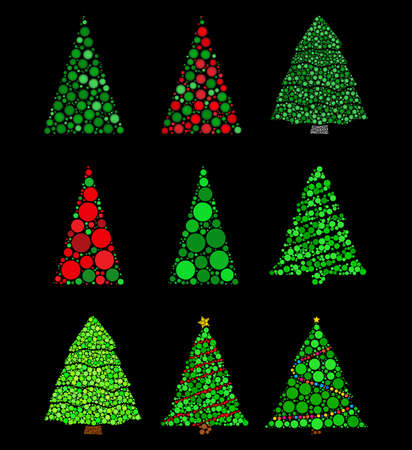 Abstract christmas tree made from dots set. Fir tree made with green circles collection. Vector illustration isolated on black background. Best for retro or vintage xmas postcard. 向量圖像