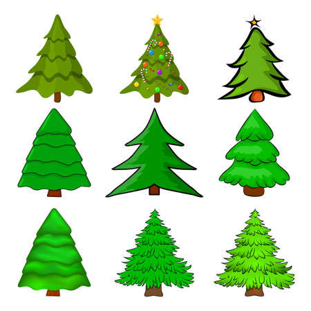 Christmas trees set. Cartoon fir tree illustration isolated on white background. Collection of seasonal pine design. Colourful green pines for xmas card or invitation. Symbol of december. 向量圖像