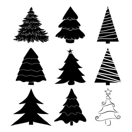 Christmas tree silhouettes set. Black pines icon for xmas card or invitation. Symbol of december. Collection of pine shapes design. Fir tree illustration isolated on white background.