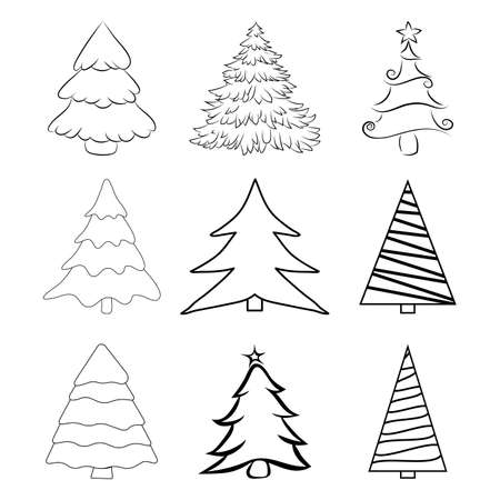 Christmas trees outline set. Contour of pines for xmas card or invitation. Fir tree illustration isolated on white background. Symbol of december. Collection of seasonal pine design. 版權商用圖片 - 160582396
