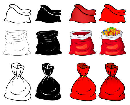 Santa sack set. Collection of santa claus bag. Empty and tied up. Red, outline and silhouette. Vector present package isolated on white background. Christmas cartoon drawing. Xmas  illustration.