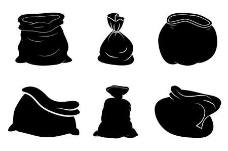 Santa bag silhouette set. Black shape of santa claus sack.Vector icon, symbol, design.Open and closed. Empty and full. Christmas illustration isolated on white. Xmas drawing.