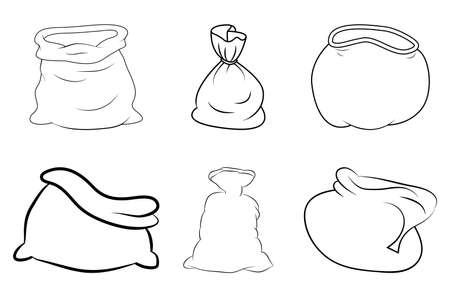 Santa sack outline set. Contour shape of santa claus bag. Vector icon, symbol, design. Empty and full. Open and closed.  Line art xmas drawing collection. Christmas illustration isolated on white.