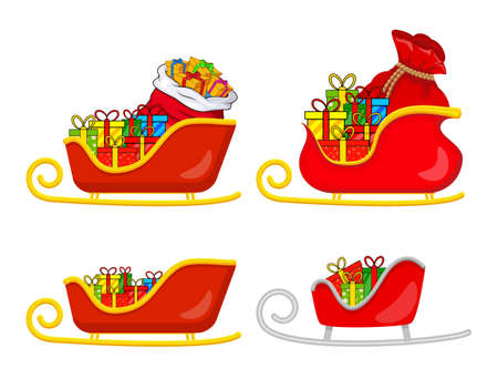 Santa sledge full of gifts set. Sleigh with presents of santa claus.  Christmas illustration isolated on white background. Vector claus sled symbol for xmas. Seasonal cartoon icons collection.
