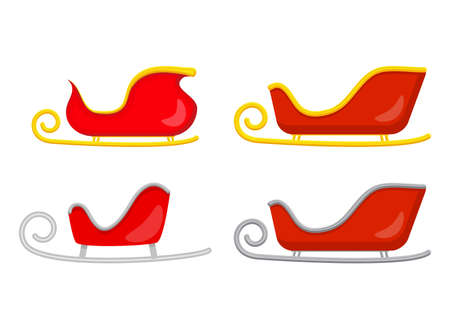 Santa sledge set. Sleigh of santa claus. Christmas slide illustration isolated on white background.  Empty red claus sled collection. Vector symbol, icon, design for xmas. Seasonal cartoon clipart.