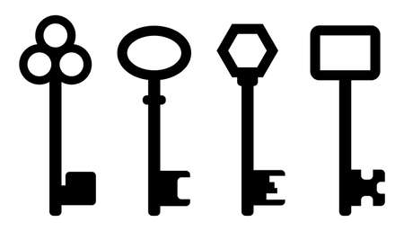 Keys icon set. Collection of door key silhouette. Vector illustration isolated on white background. Black shape of locking and unlocking tools. Privacy and security symbol.
