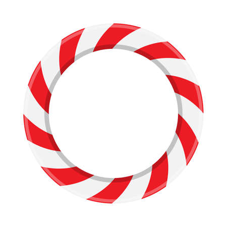 Candy cane circle frame. Red and white striped round border. Christmas lollipop wreath pattern. Vector illustration with copy space. Holiday xmas background.