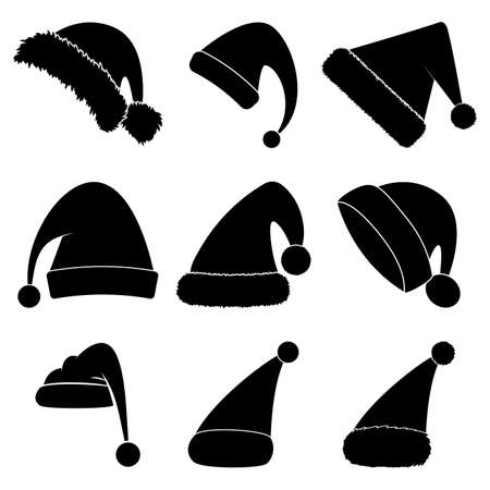 Christmas hat silhouette set. Black shape collection of santa claus hat. Santa cap icon group isolated on white background. Vector drawing for december holiday design. Winter simple symbols. 向量圖像