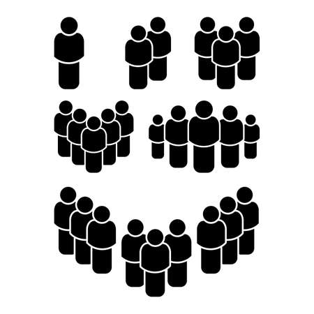 People group icon set. Black shape of human, body. Concept of team work. Crowd vector symbol isolated on white background. Office friends silhouettes. Employee pictogram collection.
