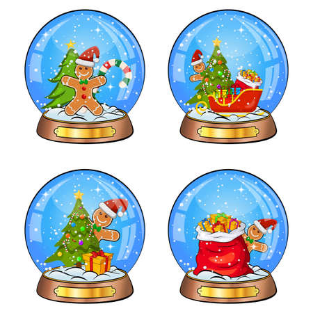 Snow globe illustration set for christmas. Crystal ball with falling snowflakes inside. Seasonal magic  glass sphere with gingerbread man and xmas ornaments. Vector design elements isolated on white.