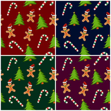 Xmas repeating pattern collection. Gingerbread man wallpaper tile. Christmas wrapping paper with candy cane, ginger cookie and christmas trees. Vector winter seamless pattern. Eps 10 background set. 向量圖像