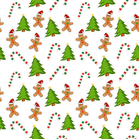 Holiday pattern with gingerbread cookies, candy cane and christmas tree on white background.