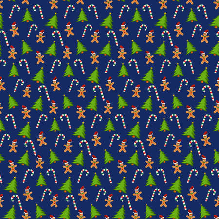 Wrapping paper with christmas cookies, trees and candy canes. Seamless pattern tile with Gingerbread man. Repeated vector christmas background for winter decoration. Great for banner or backdrop. 版權商用圖片 - 160752700