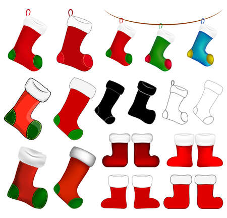 Empty christmas sock icon set. Cartoon stocking symbol collection. Winter holiday decoration. Vector illustration isolated on white background.