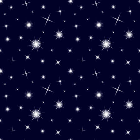 Glowing lights stars seamless pattern. Christmas background with transparent sparkle dust. Vector texture design. Twinkle starlight effect for holiday. Starry sky abstract festive backdrop.