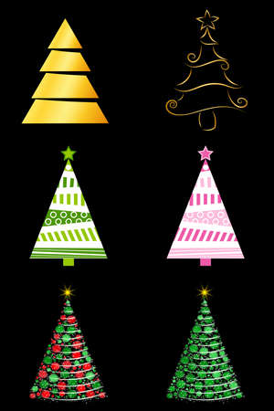Abstract christmas tree set. Golden, decorative and glowing fir tree for xmas. Vector illustration isolated on black background. Seasonal design element for holiday greeting card or postcard. Eps 10. 向量圖像