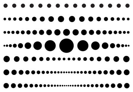 Dot line set. Dotted divider collection. Vector circle lines patterns. Template simple page border. Black graphic design element isolated on white background. Eps 10. 向量圖像
