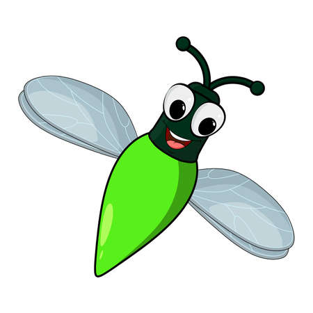Firefly insect cartoon illustration isolated on white background. Skylight bug with glowing abdomen. Comic cute character with eyes and smile. Vector firebug icon.