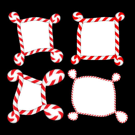 Striped christmas border set. Candy cane curly frame collection. Seasonal decoration element. Holiday illustration with copy space. Vector backdrop isolated on black background. Red and white stripes.