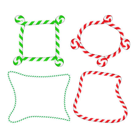 Candy cane frame collection. Striped christmas border set. Seasonal decoration element. Holiday vector illustration with copy space isolated on white background. Red, white and green curly pattern.