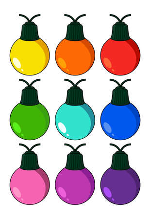 Christmas light bulb illustration set isolated on white background. Vector holiday symbol. Cartoon icons collection. Multi colored decorative element for seasonal design.