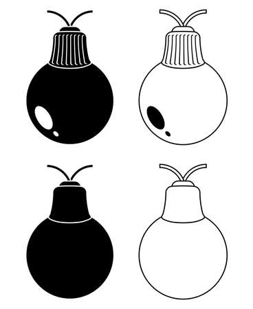 Christmas lights bulbs silhouette and outline set.  Vector holiday symbols shapes isolated on white background. Black and contour icons collection for seasonal design.